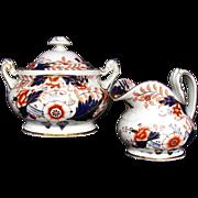 Rare Davenport Hybrid-Hard Paste Porcelain Creamer & Covered Sugar, English Imari, Antique
