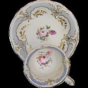 Rockingham Cup & Saucer, Hand Painted Flowers, Puce Griffin Mark, Antique c 1835