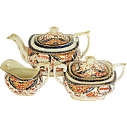 Mayer & Newbold Tea Set: Teapot, Sugar, & Creamer, Antique Early 19th C English Imari