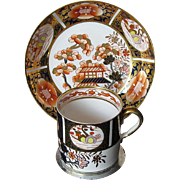 """Early Spode Coffee Can & Saucer, """"Rich Japan"""" English Imari Pattern, c 1815"""
