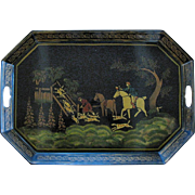 Large Toleware Tray, Unusual Hunt Scene with Hounds & Horses, Stenciled, Cut Out Handles