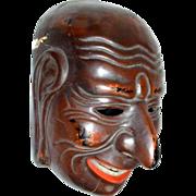 Japanese Lacquer  Mask, Gigaku, Antique, Meiji Era Copy