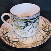 Bodley China Cup & Saucer, Antique 19thC English Staffordshire