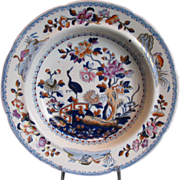 Davenport Soup Plate, Stork, Antique Early 19th C English Chinoiserie