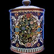 Japanese Cloisonne Tobacco Humidor, Antique 19th C Meiji Era