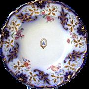 Davenport Soup Plate,  Armorial,  Cobalt & Gold, Antique 19th C English Porcelain