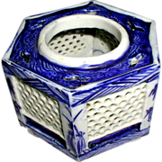 Sake Cup Stand or Hai Dai, Blue & White, Antique 19th C Japanese