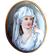 Porcelain Portrait Brooch/Pendant,  Antique , Vestal Virgin after Angelica Kauffmann