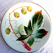 Porcelain Cabinet Plate, Hand Painted Hops, Antique 19th C