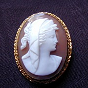 SALE Cameo Brooch Pendant Classic Greco-Roman Woman, Antique Carved Shell