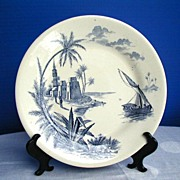 Gien Faience Plate, Harbor Scene,  Antique 19th C French