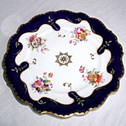 Ridgway Porcelain Plate, Handpainted Flowers, Cobalt & Gold,  c 1835  British Royal Arms Mark