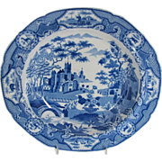 Early Spode Soup Plate, Gothic Castle, Antique Blue & White Chinoiserie, c 1820