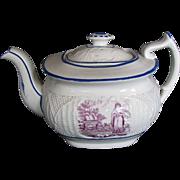 """Antique Teapot,  """"Faith"""", English Porcelain, Basket Weave Molding, c 1820"""