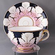 Antique English Porcelain Cup & Saucer, Molded Leaves, Cobalt Blue & Pink, 19th C