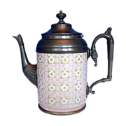 SALE Graniteware Teapot with Pewter Trim, Apple Blossoms, Antique, Rare Pink Color