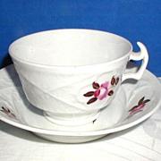 English Porcelain Cup & Saucer, Basket Weave Molding, Antique c 1820,