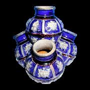 Westerwald Quadruple Specimen Vase, Cobalt & Manganese Glaze,  Antique German Stoneware