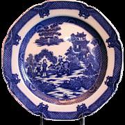 Boy on a Buffalo Plate, English Blue Transferware,  Antique c 1800