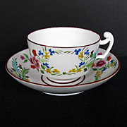 English Cup & Saucer, Molded Union Wreath Pattern, Real Nankin China, Antique c 1820
