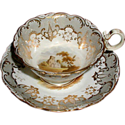 Coalport Cup & Saucer, Hand Painted Landscapes, Antique 19th C English