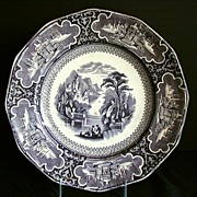 Charles Meigh Plate, Susa Pattern, Antique 19th C English Mulberry