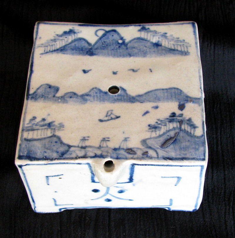 Korean Water Dropper, Square Form, Underglaze Blue, Antique, As Is
