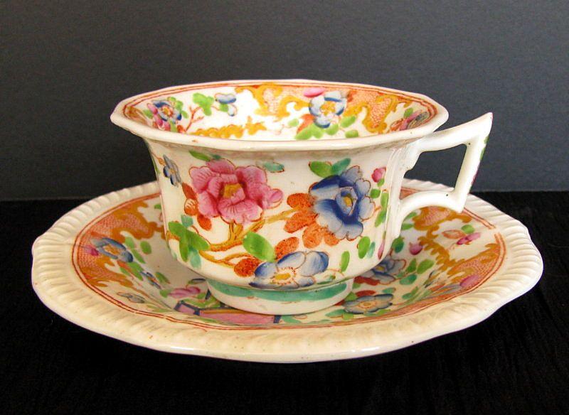 Joseph Machin  Cup & Saucer, English Porcelain Chinoiserie, Antique 19th C