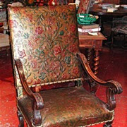 Handsome 19th Century Louis XIII Leather Embossed Armchair