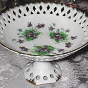 Wonderful Hand-Painted Lefton Violet Pedestal Tidbit Dish