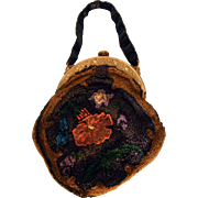 Vintage Arts & Crafts Style Beaded Purse Bag  Faux Tortoise Shell Celluloid Handle C1900s