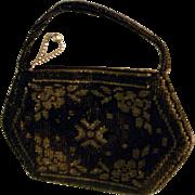 Elegant Black beaded purse from Czechoslovakia