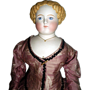 """Lovely 23"""" Parian Lady doll dressed in silk"""