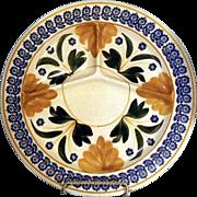 Maestricht Stick spatterware divided dinner plate