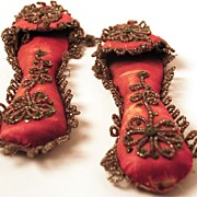 SOLD French Silk Doll Slippers circa 1880-1900