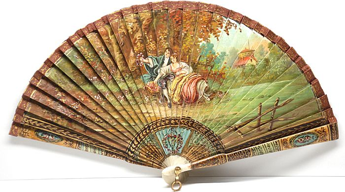 Nineteenth Century French Hand-Painted Vernis Martin Fan