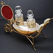 SOLD Antique French Napoleon III Abalone Gilt Doré Porte Montre/Watch Holder/Scent Bottle Car