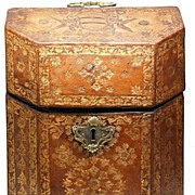SOLD Antique Gilt Tooled Morocco Leather Coffret à Couverts à Couvercle (Covered box with li