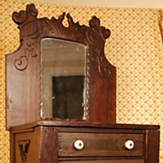 SOLD Antique Miniature French Mirrored Bureau or Vanity