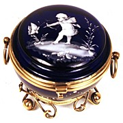 """SOLD Nineteenth Century French Cobalt Blue Standing Bonbon Jar """"Cupid and Butterfly"""""""