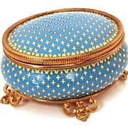 Napoleon III French Hand-Painted Porcelain/Enamel Standing Trinket Box