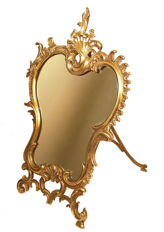 Antique Nineteenth Century Bronze Standing Table Mirror