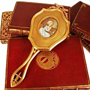 SOLD Napoleon III French Bronze Doré Hand Mirror with Hand-Painted Portrait on Ivory