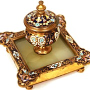 SOLD Nineteenth Century French Champleve Encrier/Inkwell with Agate and Bronze Base