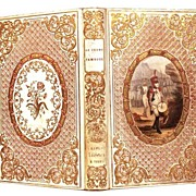"SOLD Gilt Embossed French ""Romantic Binding"" Book with Color Lithograph Medallion ci"