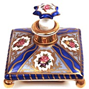SOLD French Hand Painted Porcelain Perfume Jar with Original Bouchon