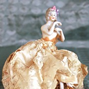 SOLD Vintage French Powder Box with Porcelain Figurine