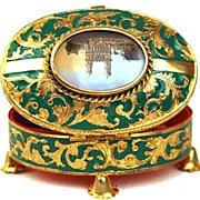 """SALE PENDING Antique French """"Palais Royal"""" Enamel  Trinket Box"""