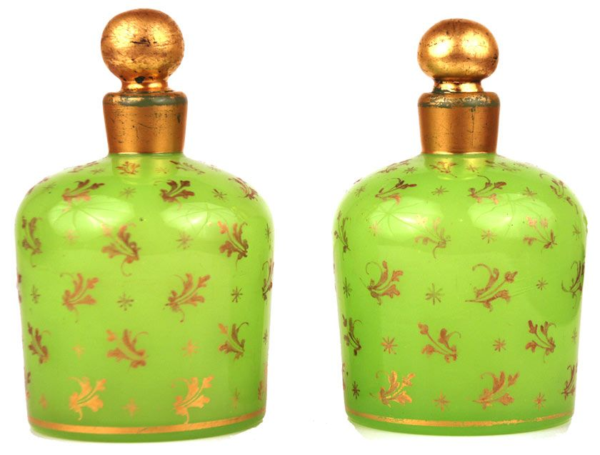 Rare Pair of Napoleon III Light Green French Opaline Scent Bottles