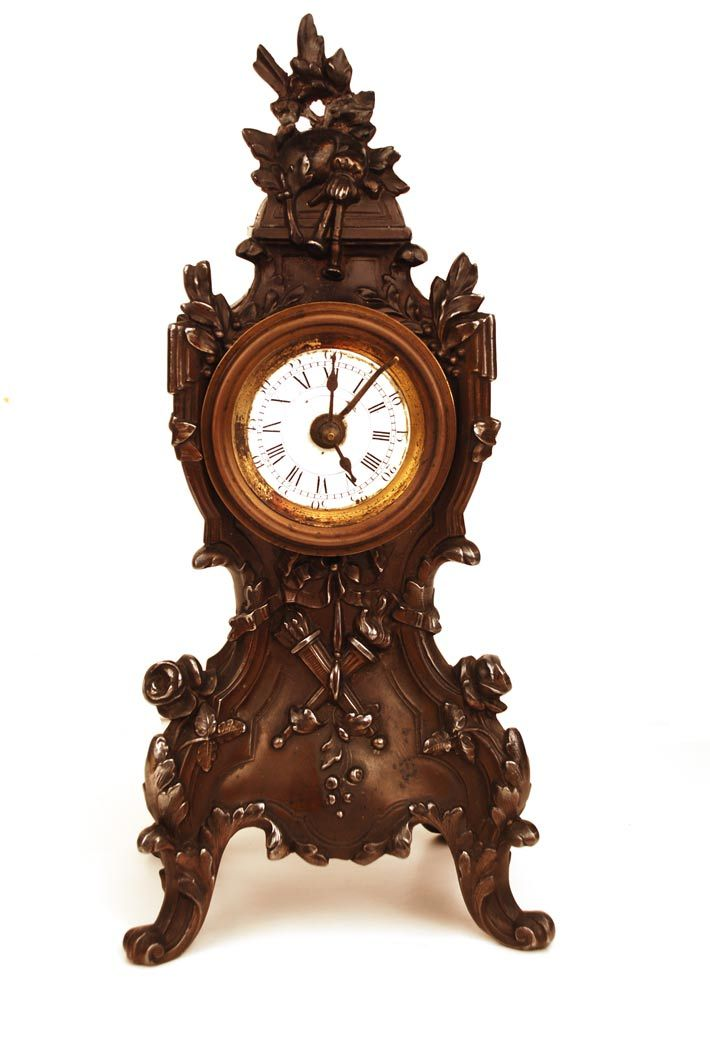 Antique Nineteenth Century French Case Metal Boudoir Clock